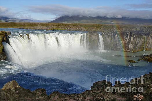 Rainbow over Godafoss Waterfall Iceland by Catherine Sherman