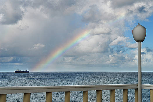 Reimar Gaertner - Rainbow over the ocean with freighter framed by lamp