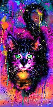 Rainbow Painted Tabby Cat  by Nick Gustafson