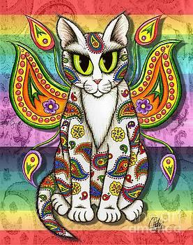 Rainbow Paisley Fairy Cat by Carrie Hawks