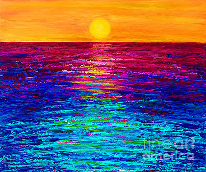 Rainbow Sunset Seascape by Ashley Baldwin