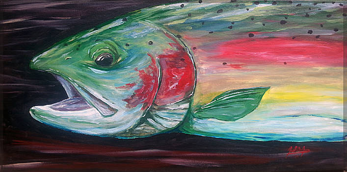 Rainbow Trout On Canvas by Joel DeJong