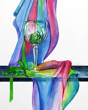 Rainbow Wine Glass by Jane Loveall