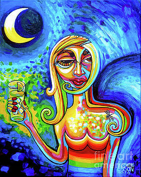 Rainbow Woman With A Crescent moon by Genevieve Esson