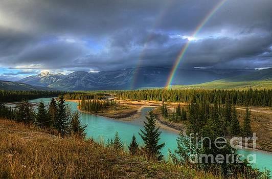 Wayne Moran - Rainbows on the Athabasca River Jasper National Park