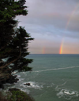 Rainbows Over the Ocean at the Mendocino Coast by Anne Branson