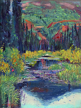 Raindrop Pond - Plein Air by David Lloyd Glover