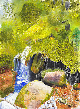 Rainforest Waterfall Watercolor and Acrylic by Conni Schaftenaar