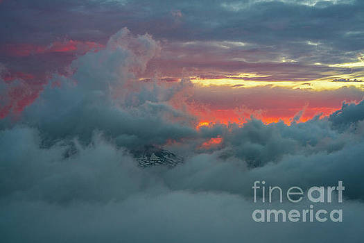 Rainier Above the Clouds At Sunset by Mike Reid