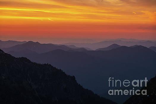 Rainier National Park Sunset Layers by Mike Reid