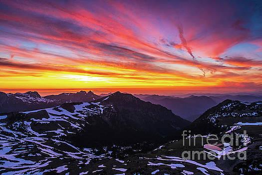 Rainier Second Burroughs Sunset Landscape by Mike Reid
