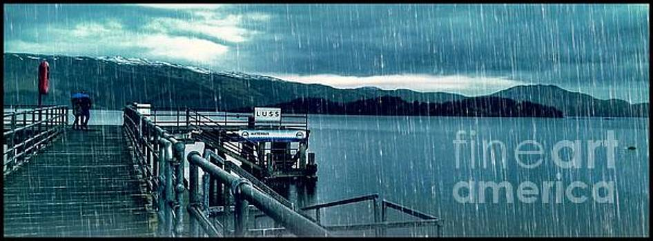 Raining At Luss Pier  by Joan-Violet Stretch