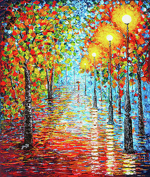 Rainy autumn evening in the park acylic palette knife painting by Georgeta Blanaru