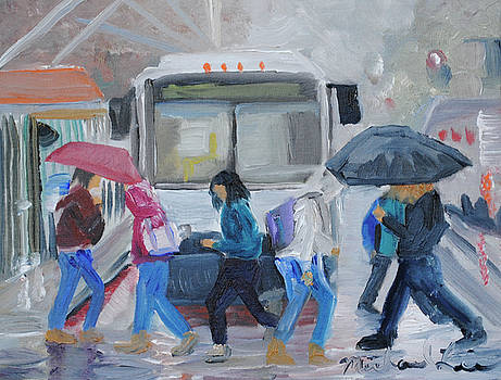 Rainy Bustop by Michael Lee