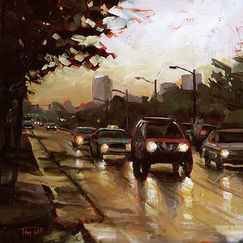 Rainy Commute by Tracy Wall