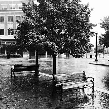 Rainy Day - A moody black and white photograph by Sabine Konhaeuser