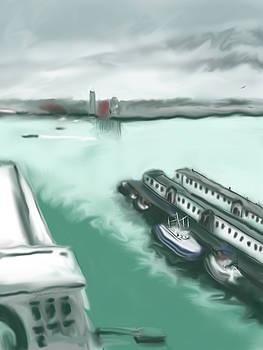 Rainy Day At Boston Seaport by Jean Pacheco Ravinski