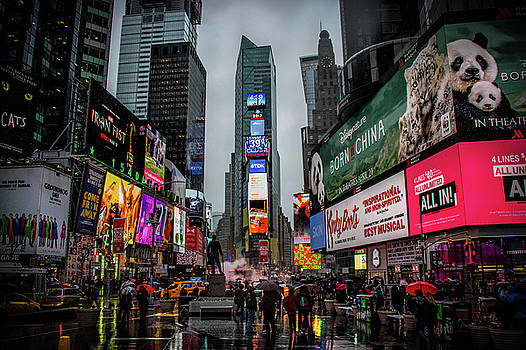 Rainy Day in Time Square  by Luis Rosario