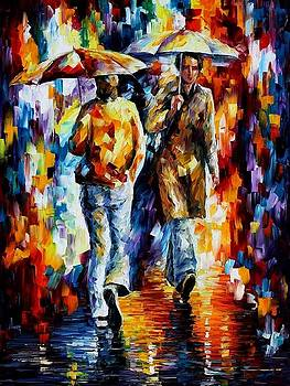 Rainy Encounter - PALETTE KNIFE Oil Painting On Canvas By Leonid Afremov by Leonid Afremov