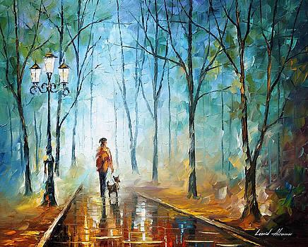 Rainy Fog - PALETTE KNIFE Oil Painting On Canvas By Leonid Afremov by Leonid Afremov