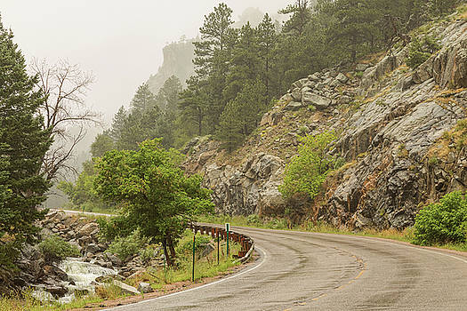 Rainy Misty Boulder Creek and Boulder Canyon Drive by James BO Insogna