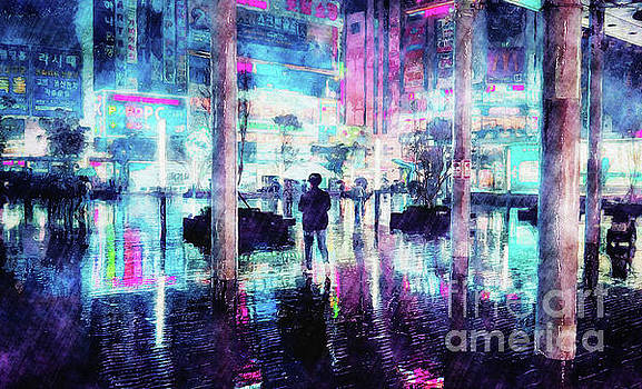Rainy Night In South Korea by Phil Perkins