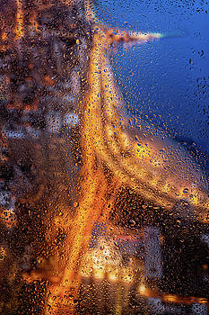 Rainy Night Lakeshore Drive Chicago by Steve Gadomski