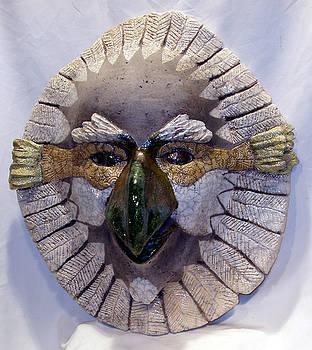 Raku Hawk Mask by John Gruber