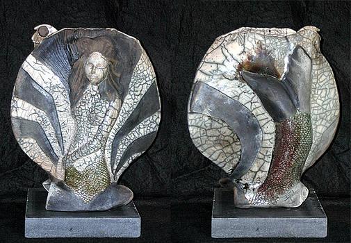 Raku Mermaid with Black Pearl by John Gruber