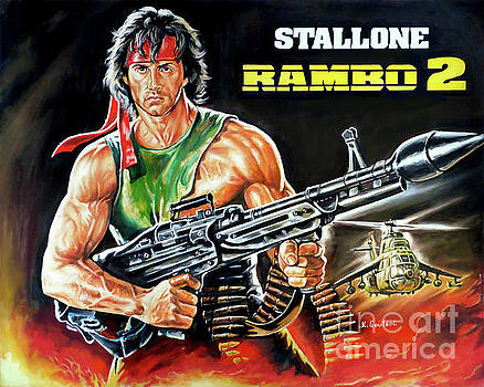 Rambo 2 Sylvester Stallone paintinf by Kostas Soutsos