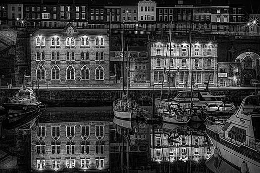 Ramsgate Inner Marina On A Still Dark Night by David Attenborough