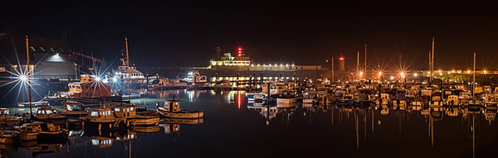 Ramsgate Outer Marina At Night by David Attenborough