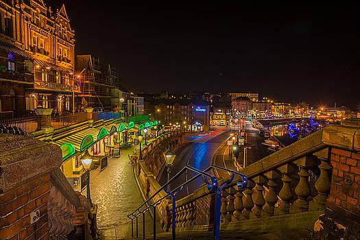 Ramsgate West Cliff Arcade Restaurants At Night  by David Attenborough