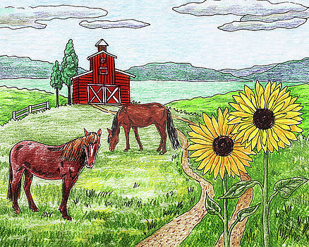 Ranch Horses Red Barn Sunflowers by Irina Sztukowski