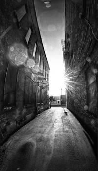 Random City Street Sunrize Vertical pano, Lens Flare by Jakub Sisak
