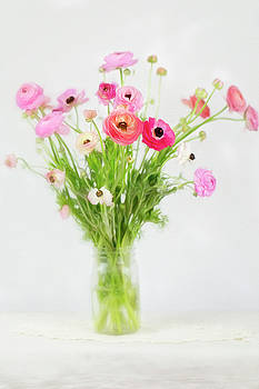Ranunculus and Anemones Painterly by Susan Gary