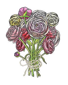 Ranunculus Watercolor Bouquet  by Irina Sztukowski