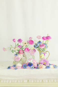 Ranunculus with Love in a Mist by Susan Gary