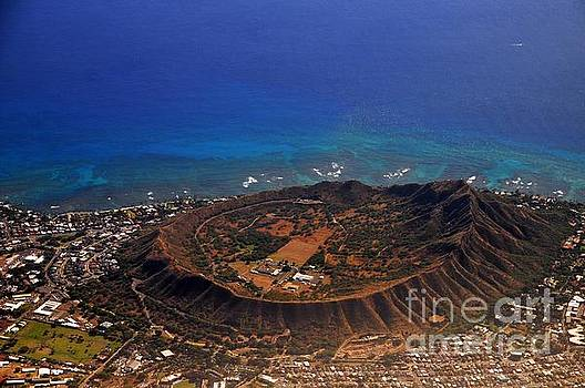 Rare Aerial view of extinct volcanic crater in Hawaii.  by Akshay Thaker-PhotOvation