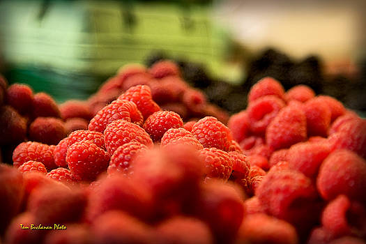 Raspberries at the Market by Tom Buchanan