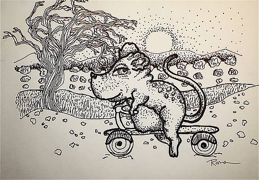 Rat On A Scooter by Kathleen Raven