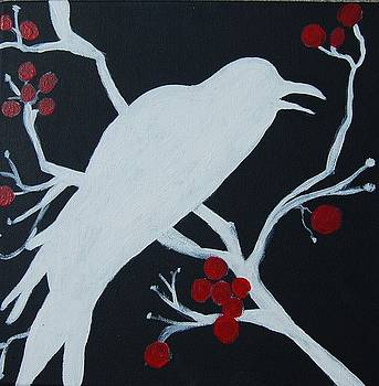 Raven - White on Black by Andrea Harston