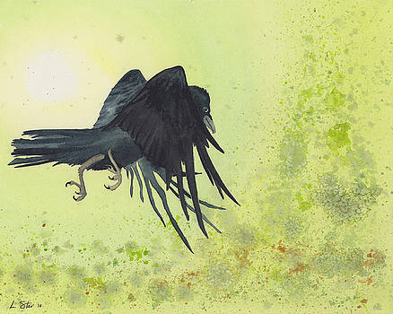 Raven Flying Green by Laura Star Studio