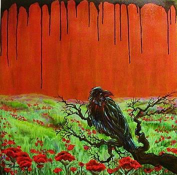 Raven in Afghan Poppy Field by Diana Dearen