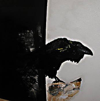 RAVEN on a piece of wood by Cass Oest
