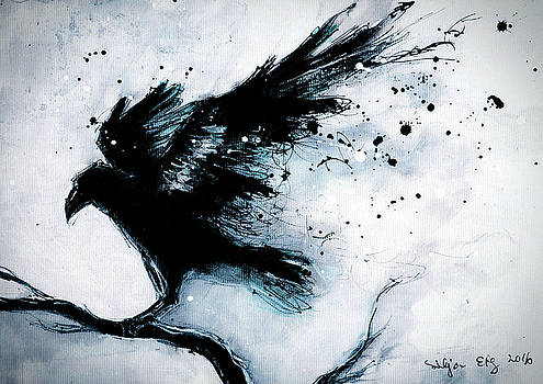 Raven painting - abstract art by Silja Erg