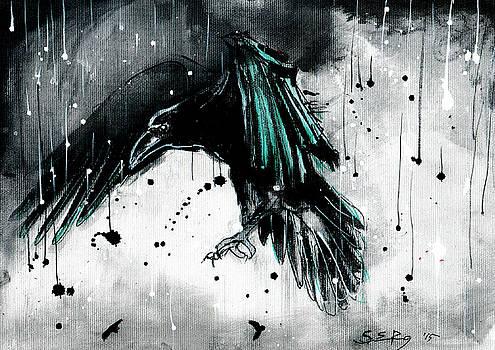 Raven painting - rainy day by Silja Erg