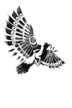 Sassan Filsoof - Raven Shaman tribal black and white design