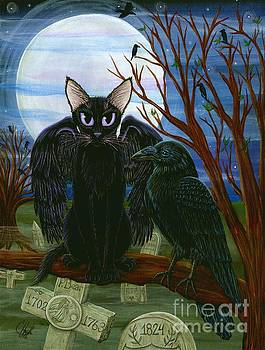 Raven's Moon Black Cat Crow by Carrie Hawks