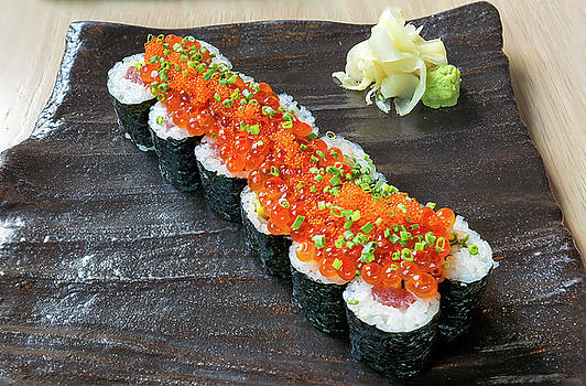 Raw Fish Sushi Roll with Egg Roe by Jit Lim